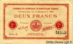 2 Francs FRANCE régionalisme et divers MONTLUÇON, GANNAT 1921 JP.084.65 TTB à SUP