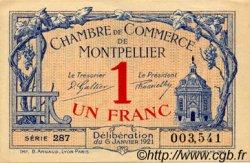 1 Franc FRANCE régionalisme et divers MONTPELLIER 1921 JP.085.24 TTB à SUP