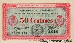 50 Centimes FRANCE régionalisme et divers MOULINS ET LAPALISSE 1916 JP.086.01 SPL à NEUF