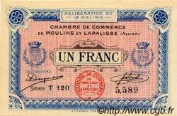 1 Franc FRANCE régionalisme et divers MOULINS ET LAPALISSE 1916 JP.086.04 SPL à NEUF
