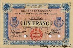 1 Franc FRANCE régionalisme et divers MOULINS ET LAPALISSE 1916 JP.086.06 TTB à SUP