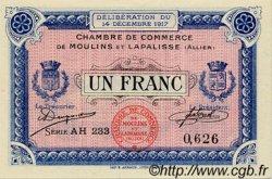 1 Franc FRANCE régionalisme et divers MOULINS ET LAPALISSE 1917 JP.086.13 SPL à NEUF