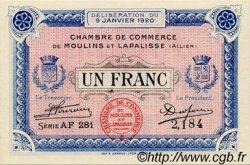 1 Franc FRANCE régionalisme et divers MOULINS ET LAPALISSE 1920 JP.086.17 SPL à NEUF