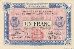 1 Franc FRANCE régionalisme et divers Moulins et Lapalisse 1920 JP.086.20 SPL à NEUF