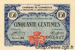 50 Centimes FRANCE régionalisme et divers Moulins et Lapalisse 1921 JP.086.22 SPL à NEUF