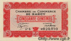 50 Centimes FRANCE régionalisme et divers Nancy 1915 JP.087.01 TTB à SUP