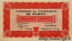 50 Centimes FRANCE régionalisme et divers Nancy 1916 JP.087.07 SPL à NEUF