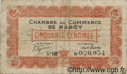 50 Centimes FRANCE régionalisme et divers NANCY 1918 JP.087.22 TB
