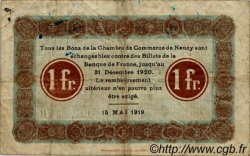 1 Franc FRANCE régionalisme et divers NANCY 1919 JP.087.36 TB