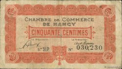 50 Centimes FRANCE régionalisme et divers Nancy 1921 JP.087.47 TB