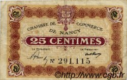 25 Centimes FRANCE régionalisme et divers Nancy 1918 JP.087.61 TB