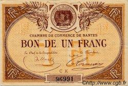 1 Franc FRANCE régionalisme et divers NANTES 1918 JP.088.23 TTB à SUP