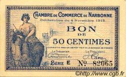 50 Centimes FRANCE régionalisme et divers NARBONNE 1915 JP.089.03 TTB à SUP