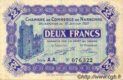 2 Francs FRANCE régionalisme et divers Narbonne 1921 JP.089.25 TTB à SUP