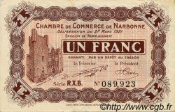 1 Franc FRANCE régionalisme et divers NARBONNE 1921 JP.089.28 TTB à SUP