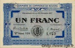 1 Franc FRANCE régionalisme et divers Nevers 1917 JP.090.14 TTB à SUP