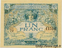 1 Franc FRANCE régionalisme et divers Nîmes 1915 JP.092.11 SPL à NEUF
