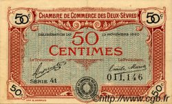 50 Centimes FRANCE régionalisme et divers Niort 1920 JP.093.10 TTB à SUP