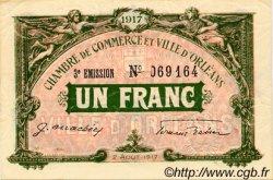 1 Franc FRANCE régionalisme et divers ORLÉANS 1917 JP.095.17 TTB à SUP