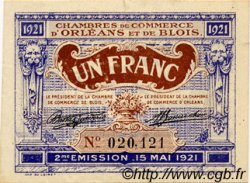 1 Franc FRANCE régionalisme et divers Orléans et Blois 1921 JP.096.07 TTB à SUP
