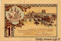 1 Franc FRANCE régionalisme et divers PARIS 1920 JP.097.36 TTB à SUP