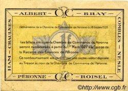 1 Franc FRANCE régionalisme et divers Péronne 1921 JP.099.04 TTB à SUP