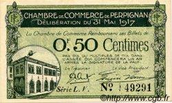 50 Centimes FRANCE régionalisme et divers PERPIGNAN 1917 JP.100.21 TTB à SUP