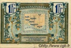 1 Franc FRANCE régionalisme et divers ALAIS, ARLES, AVIGNON, GAP, MARSEILLE, NÎMES, TOULON 1918 JP.102.04 TTB à SUP