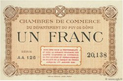 1 Franc FRANCE régionalisme et divers PUY-DE-DÔME 1920 JP.103.08 SPL à NEUF