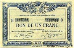 1 Franc FRANCE régionalisme et divers Quimper et Brest 1915 JP.104.05 TTB à SUP