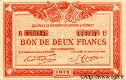 2 Francs FRANCE régionalisme et divers QUIMPER ET BREST 1915 JP.104.06 SPL à NEUF