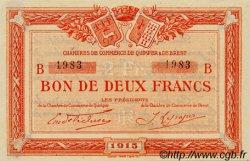 2 Francs FRANCE régionalisme et divers Quimper et Brest 1915 JP.104.06 TTB à SUP