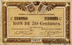 50 Centimes FRANCE regionalism and various Quimper et Brest 1917 JP.104.07 VF to XF