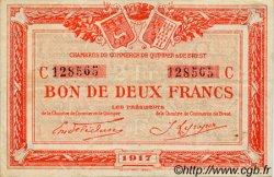2 Francs FRANCE régionalisme et divers Quimper et Brest 1917 JP.104.09 TTB à SUP