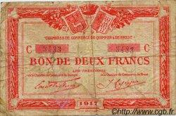 2 Francs FRANCE régionalisme et divers QUIMPER ET BREST 1917 JP.104.09 TB