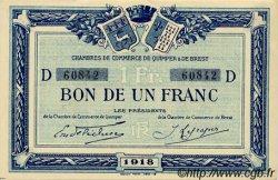 1 Franc FRANCE régionalisme et divers Quimper et Brest 1918 JP.104.11 SPL à NEUF