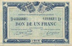 1 Franc FRANCE régionalisme et divers QUIMPER ET BREST 1918 JP.104.14 TTB à SUP