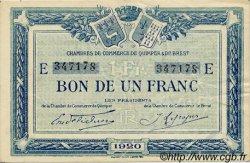 1 Franc FRANCE régionalisme et divers QUIMPER ET BREST 1920 JP.104.17 TTB à SUP