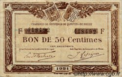 50 Centimes FRANCE régionalisme et divers Quimper et Brest 1921 JP.104.19 TB
