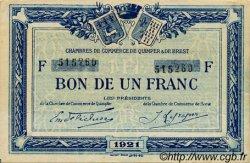 1 Franc FRANCE régionalisme et divers QUIMPER ET BREST 1921 JP.104.20 TTB à SUP