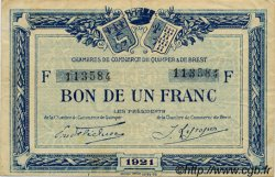 1 Franc FRANCE régionalisme et divers QUIMPER ET BREST 1921 JP.104.20 TB
