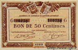 50 Centimes FRANCE régionalisme et divers QUIMPER ET BREST 1922 JP.104.22 SPL à NEUF