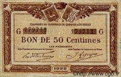 50 Centimes FRANCE régionalisme et divers Quimper et Brest 1922 JP.104.22 TB