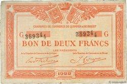 2 Francs FRANCE régionalisme et divers QUIMPER ET BREST 1922 JP.104.24 TTB à SUP