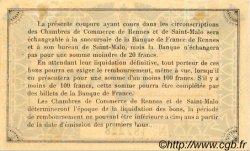 1 Franc FRANCE régionalisme et divers RENNES ET SAINT-MALO 1915 JP.105.03 TTB à SUP
