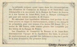 1 Franc FRANCE régionalisme et divers RENNES ET SAINT-MALO 1915 JP.105.05 TTB à SUP