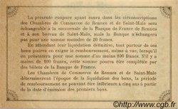 50 Centimes FRANCE régionalisme et divers RENNES ET SAINT-MALO 1915 JP.105.10 SPL à NEUF