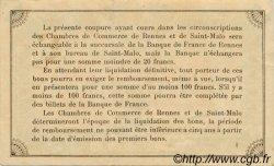 50 Centimes FRANCE régionalisme et divers Rennes et Saint-Malo 1915 JP.105.10 TTB à SUP