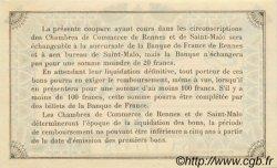 1 Franc FRANCE régionalisme et divers RENNES ET SAINT-MALO 1915 JP.105.11 SPL à NEUF