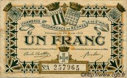 1 Franc FRANCE régionalisme et divers RENNES ET SAINT-MALO 1915 JP.105.11 TB